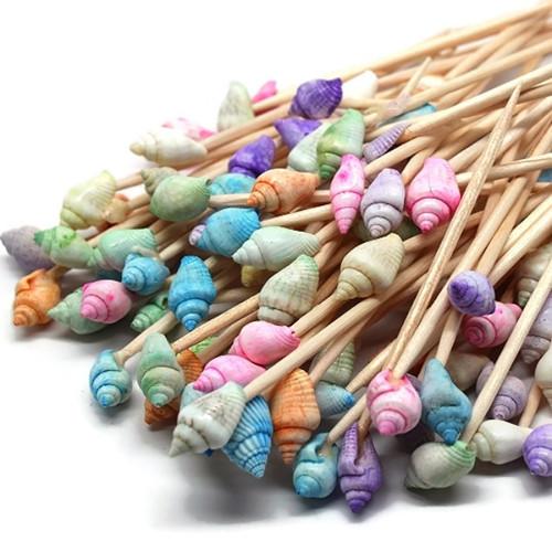 100 Pastel Dyed Seashell Toothpicks for Beach Wedding Shell Tiki Bar Parties