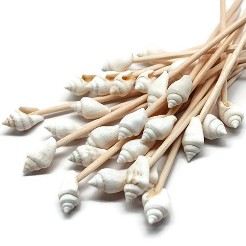 100 White Seashell Toothpicks for Beach Wedding Shell Tiki Bar Parties