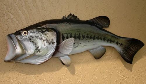 "LargeMouth Bass Half Mount Fish Replica 22"" Beach Decor"
