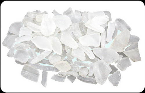 Beach Glass Ice White Color Sea glass 1 pound bags