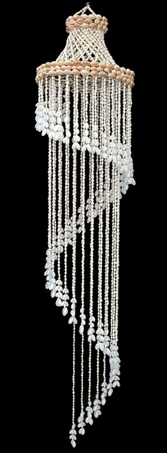 Shell Wind Chime White Bubble Seashell Spiral 44 inch