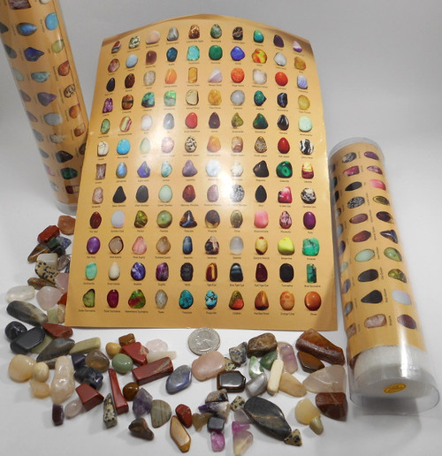 Educational Starter Rock Kit Colorful Poster & Polished Stones