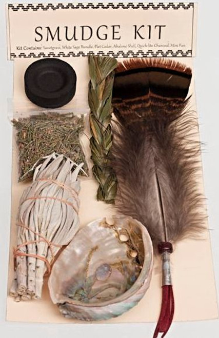 Smudge Kit, abalone,sage,feather,grass and more Free Shipping