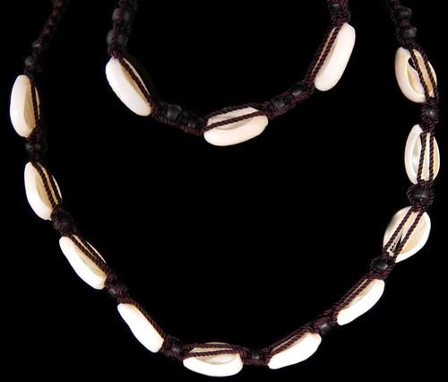Shell Necklace Center Cut Money Cowrie and Bracelet Set