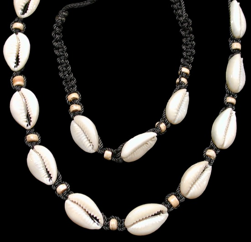 Black cord cut cowrie Shell Necklace and Bracelet Adjustable