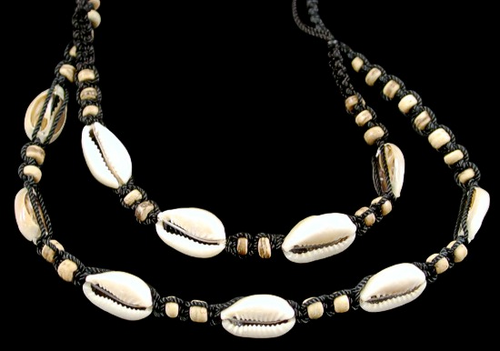 Lite Bamboo cut cowrie Shell Necklace and Bracelet