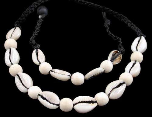 Cut cowrie bamboo beads Shell Necklace and Bracelet  Adjustable