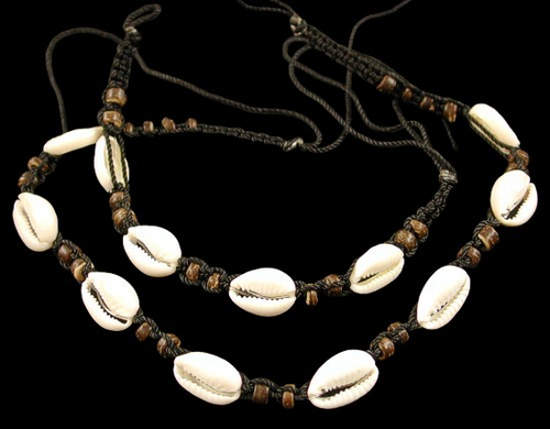Dark Bamboo Cut Cowrie Shell Necklace and Bracelet Adjustable