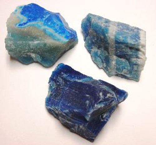 Agate Rough Brazil 1-1.5 inch Blue Dyed 1/2 lb. bag