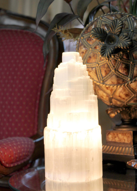 "Selenite Skyscraper Lamp 8"" Free Shipping"