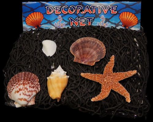 Real Nautical Fish Net with Shells - Decorative 18' sq New