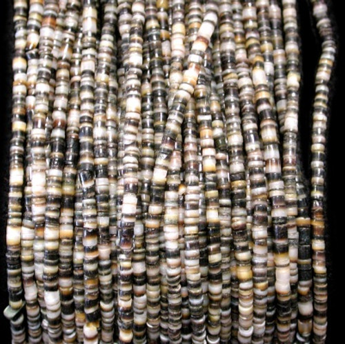 Blacklip Shell Heishi Beads (24 Inch Strand) 2-3mm Free shipping