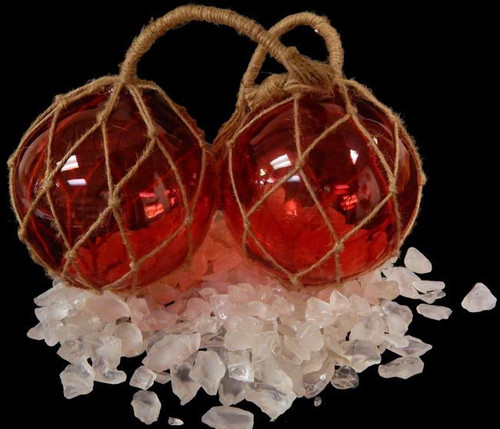 "Red Glass Fishing Float  Buoy Net Floats 6"" Nautical Decor"