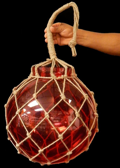 "XLarge Red Glass Fishing Float  Buoy Net Float  16"" Nautical Decor"