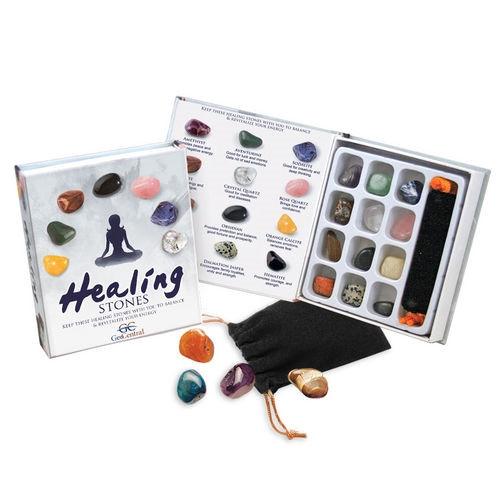 Gemstone Healing Stones Kit 12 Stones Velvet Bag