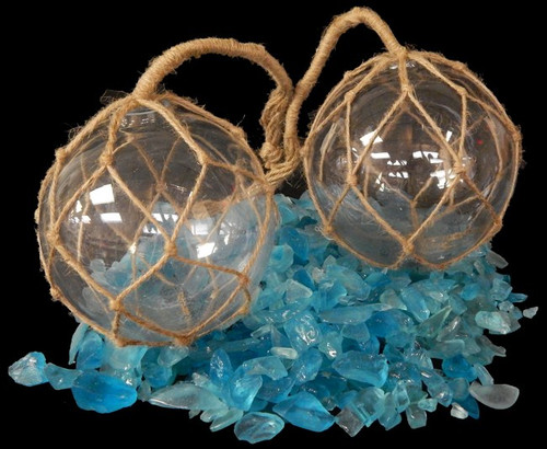 "Clear Glass Fishing Float Buoy Net Float 6"" Nautical Decor"