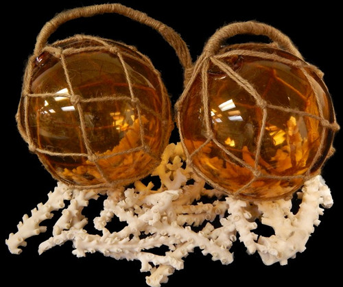 "Amber Glass Fishing Float  Buoy Net Float 6"" Nautical Decor"