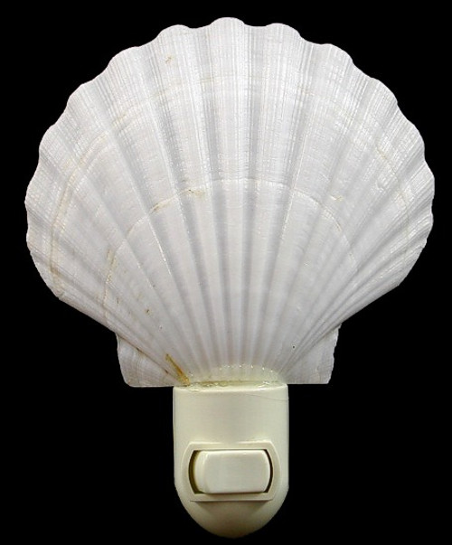 "White Scallop Shell Nitelite Seashell Night lights 4"" Sold each"