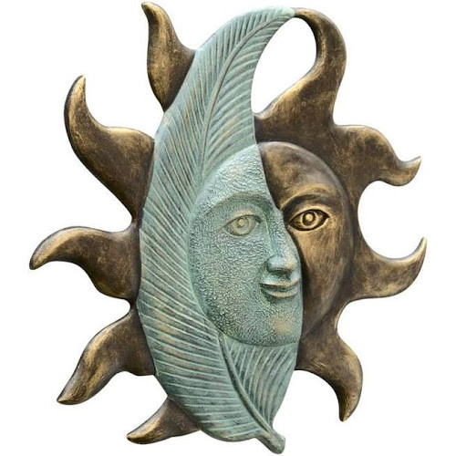 Leaf and Sun face Wall Hanging, Outdoor Wall Art, Free Shipping