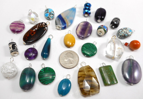 Gemstone, Bead Pendants, Assorted - 25 Pieces Free Shipping