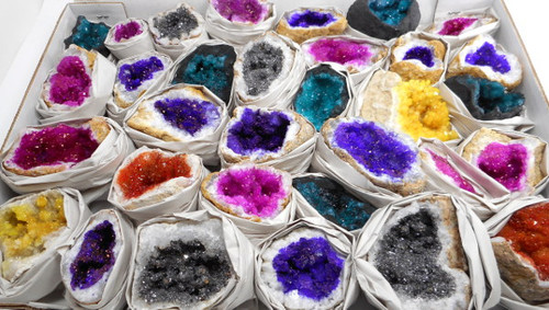Dyed Geodes by the 1/2 Flat Approx 15-18 pcs Free Shipping