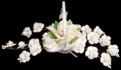White Wedding Bouquet Shell Flower Arrangement 15""
