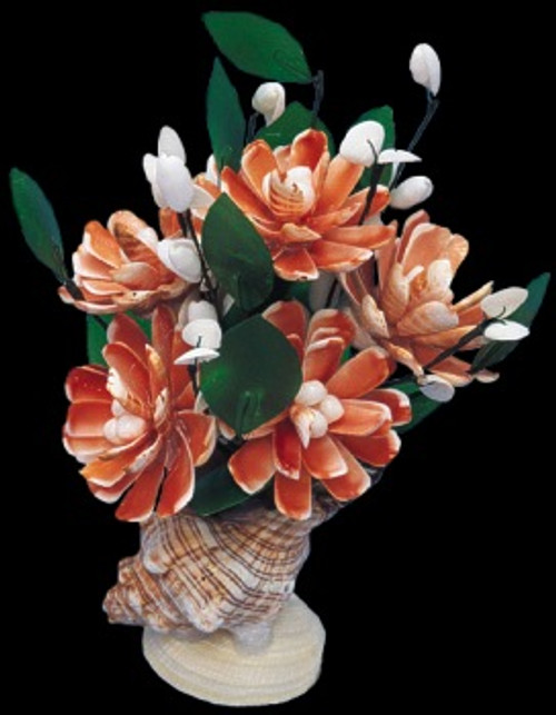 Strawberry Wedding Shell Flower Arrangement 11""
