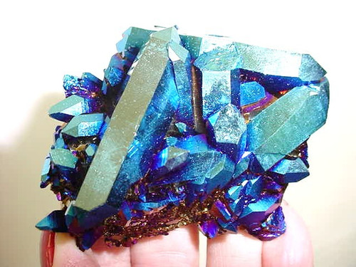 "Cobalt Titanium Quartz Cluster 3"" x 2.75"" Free shipping 1 only"