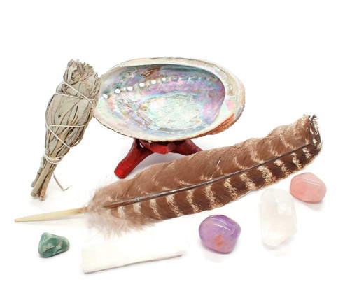 Chakra Smudging Kit with Feather, abalone, 5 Chakra Crystals
