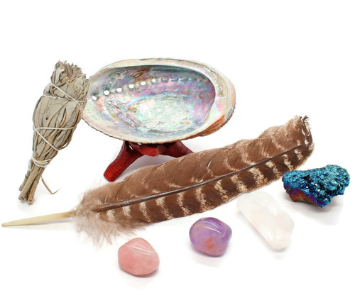 Smudging Kit with Feather, abalone, 4 Chakra Crystals