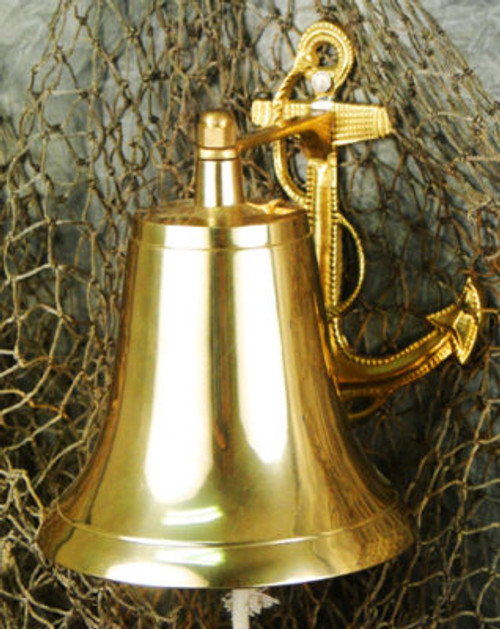 "Brass Anchor Bell 7"" Long Free Shipping"