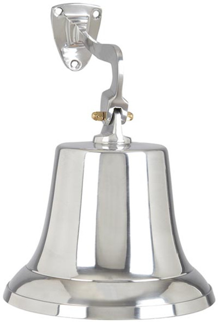 "Shiny Aluminum Ship's Bell 11"" Long Free Shipping"