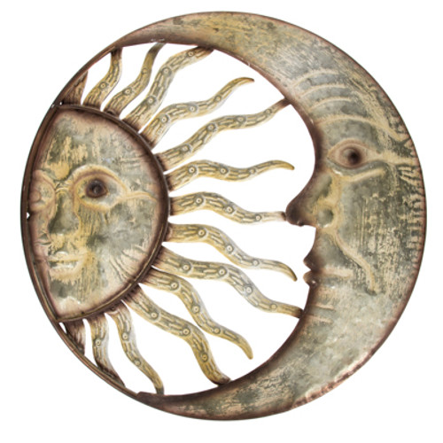 "Moon and Sun Wall Hanging 20"" Diameter Free Shipping"