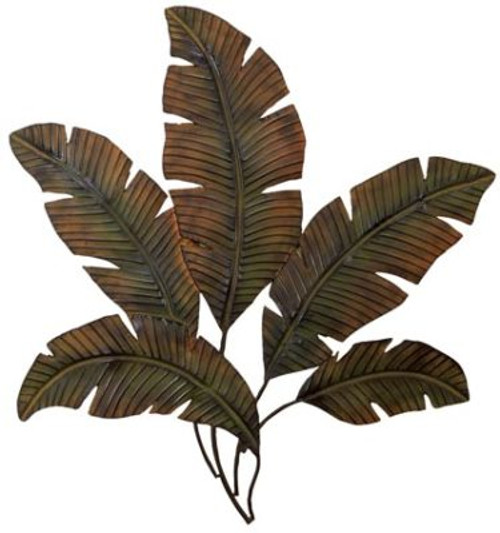 "Metal Wall Banana Leaves 35"" Wide Free Shipping"