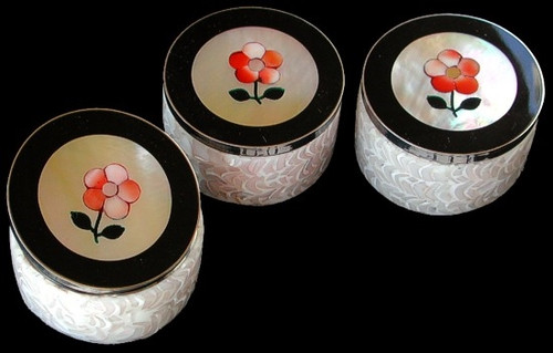 Pill Box Strawberry Mother of Pearl Inlay with Crack Nautilus Swrils