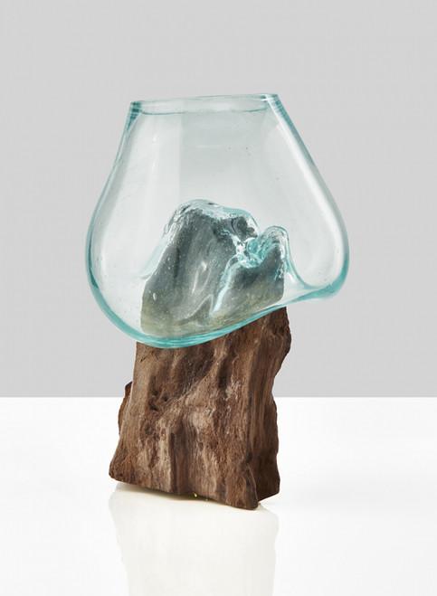 "Custom Glass Vase Teak Stump With Glass Vase 10"""