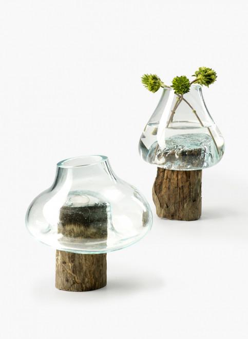 "Custom Round Teak Stump With Glass Vase 10"" Free Shipping"