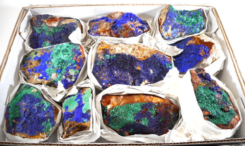 Beautiful Azurite & Malachite specimens - Half Flat