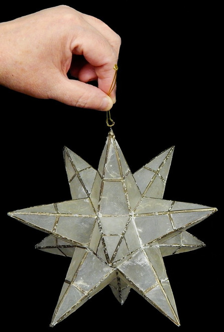 "Sputnik Capiz Shell Star 8"" Beach Christmas Ornament, Hand Made"