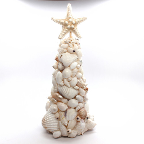White & Pearl Seashell Coastal Christmas Tree 10""