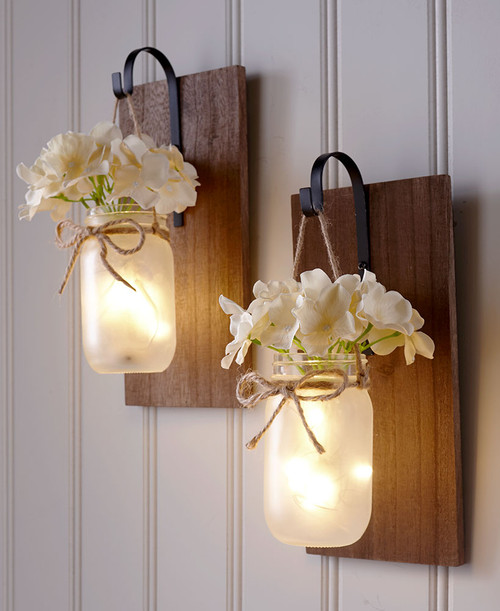 2 Hanging Mason Jar Sconce, Fairy Lights, Free Shipping