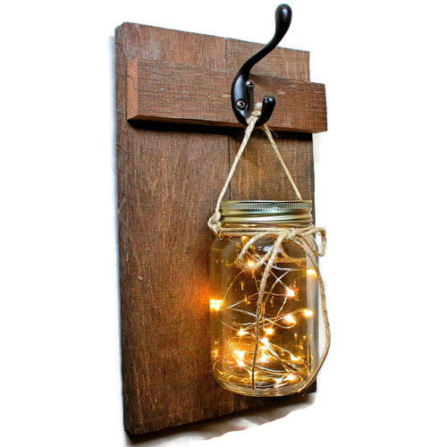 Fairy Light Hanging Mason Jar Sconce, Priced Each