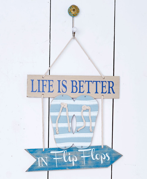 Coastal Wall Flip Flops Sign, Beach Decor