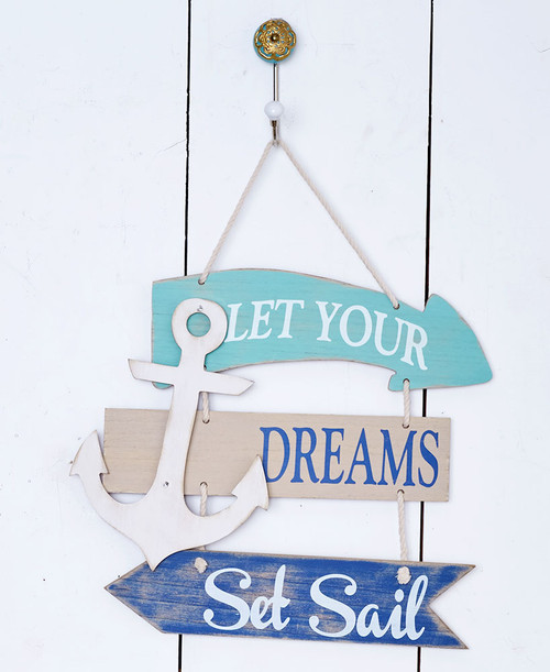 Coastal Wall Set Sail Sign, Beach Decor