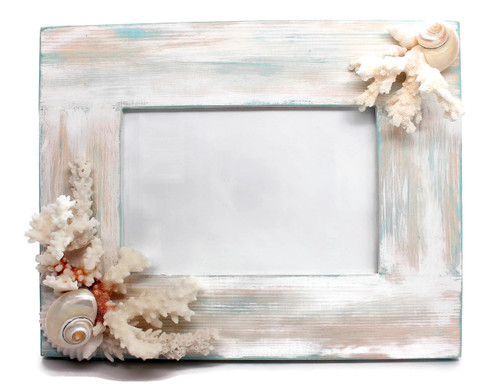 Distressed Wood Coral Seashell Picture Frame