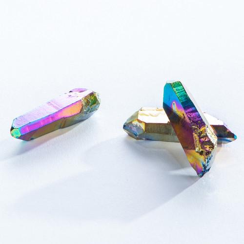 Rainbow Aura Quartz Crystal Points, Priced each