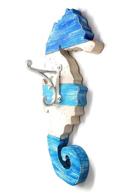 Wood Blue Seahorse Rack Wall Hanging Beach Decor
