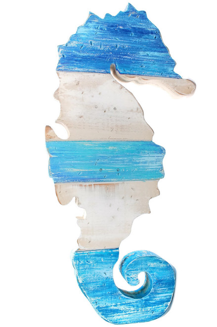 Wood Blue Seahorse Wall Hanging Beach Decor