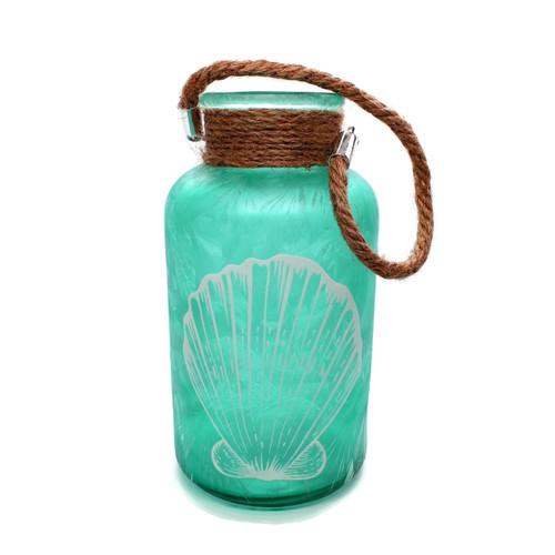"Sea Glass Jar Shell Motif 8"" Sea Green Beach Decor"