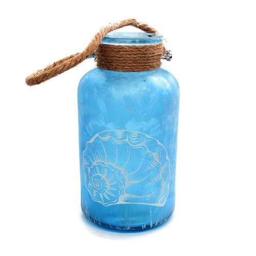 "Sea Glass Jar Shell Motif 8"" Sea Blue Shell Beach Decor"